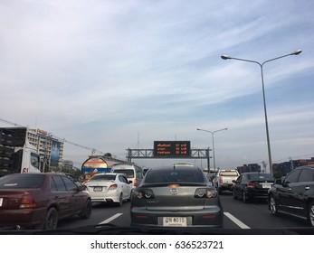 Bangkok Thailand -May 9: The traffic jams on high way on MAY 9,2017 in Thailand.