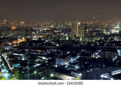 bangkok thailand night lanscape and new train rail