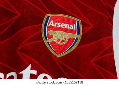 Bangkok, Thailand - Nov 09,2020 : the logo on Arsenal Football Jersey.
