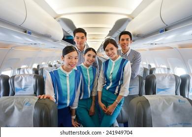 BANGKOK, THAILAND - NOV 11: Bangkok Airways crew members on November 11, 2014. Bangkok Airways is a regional airline based in Bangkok. Its main base is Suvarnabhumi Airport, Bangkok