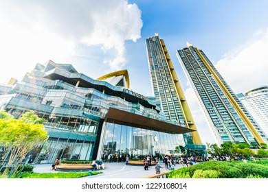 Bangkok, Thailand - Nov 12, 2018: Building exterior of Iconsiam shopping mall, Takashimaya department store and Magnolias Waterfront Residences condominium, located by Chaophraya River in Bangkok