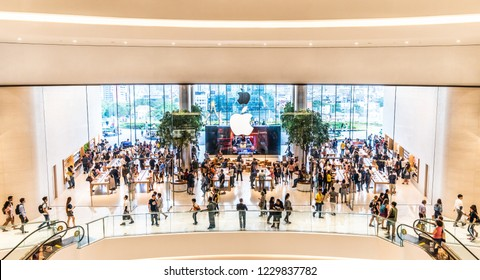 Bangkok, Thailand - Nov 12, 2018: Crowd of customers visiting the first official Apple store in Thailand, opening in the new IconSiam shopping mall located by Chao Phraya River in Bangkok