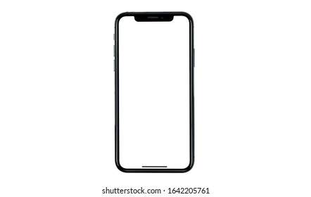 Bangkok, Thailand - Nov 12 , 2020 : mobile phone mockup iphon frameless of Smartphone iPhone 12 Pro Max with blank screen for Infographic Global Business  web site design app - Clipping Path
