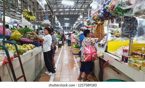 BANGKOK, THAILAND - NOV 12: Tropical thai fruits sell at Or Tor Kor market in Bangkok, Thailand on November 12, 2018. Or Tor Kor is one of the biggest food market in Bangkok. - Image