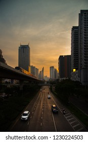 Bangkok Thailand NOV 13 2018: BTS SkyTrain and cityscape traffic on evening time, BTS SkyTrain is a mass transit system in Bangkok to help facilitate and speed the journey.