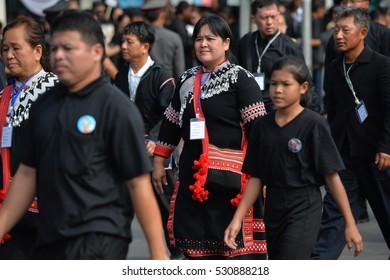 BANGKOK, THAILAND -NOV 18, 2016: Crowds of mourners at Sanam Luang Thai King Bhumibol Adulyadej  in front of  Wat Phra Kaew on November 18, 2016 in Bangkok, Thailand.