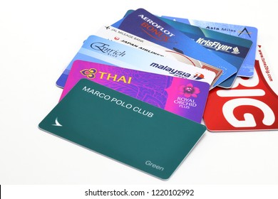 BANGKOK THAILAND, NOV 2018: variety of frequent flyer member card isolated on white background. member of each card can get and use privilege much more than the other.