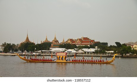 BANGKOK THAILAND - NOV 2,2012: the water-born  Royal  Kathin  Procession  will  consist  of  a  52 traditional style barges arranged in  5 columns on November 2,2012 at  Bangkok  Thailand