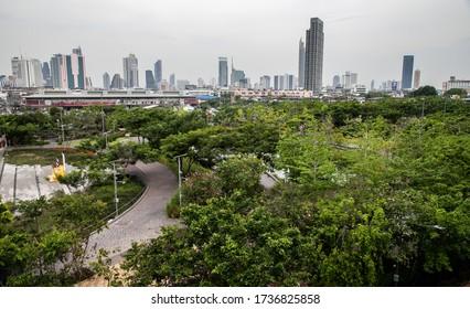 BANGKOK, THAILAND, NOV 23, 2019: Chulalongkorn University Centenary Park, Bangkok, Thailand