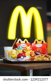 Bangkok, Thailand - Nov 24, 2018 : A photo of Happy Meal set at McDonald's with Pokemon plastic toys launch to promote Pokemon let's go pikachu and Pokemon Let's go Eevee by Nintendo.