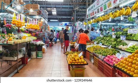 BANGKOK, THAILAND - NOV 24: Tropical thai fruits sell at Or Tor Kor market in Bangkok, Thailand on November24, 2018. Or Tor Kor is one of the biggest food market in Bangkok.