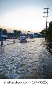 BANGKOK, THAILAND - NOV 26: Scene from  Phet Kasem road  during the worst flooding crisis  on November  26, 2011 in Bangkok, Thailand