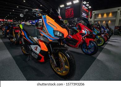 Bangkok, Thailand, Nov 29, 2019 - Honda ADV scooter motorbikes in motorbike idea challenge contest which held in Bangkok Motor Expo 2019