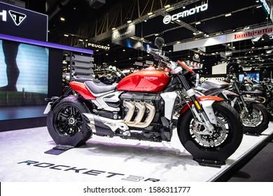 Bangkok, Thailand, Nov 29, 2019 - Triumph Rocket 3r super big motorbike in motor exhibition
