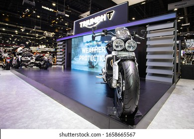 Bangkok, Thailand, Nov 29, 2019 - Front side of Triumph rocket 3r displaying on stage in motor exhibition