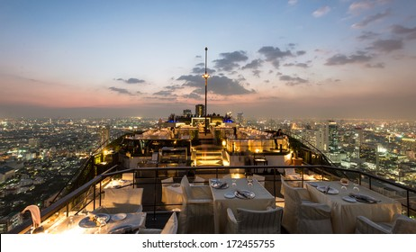 BANGKOK, THAILAND - NOV 4: View from the top of Vertigo Bar on November 4, 2013 in Bangkok, Thailand. Vertigo Bar is one of the luxury bars and restaurant in Bangkok with a stunning 360 degrees view.
