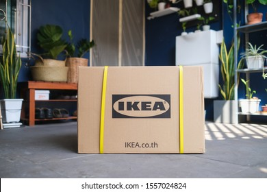 Bangkok, Thailand - Nov 6, 2019: IKEA logotype printed on cardboard box package delivered from IKEA online Store at the front door of a residence, IKEA is the world's largest furniture retailer