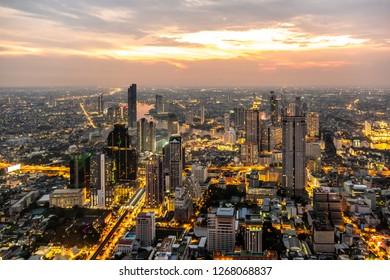 Bangkok, Thailand - Nov 8, 2018: Beautiful cityscape super wide-angle twilight night aerial view of Bangkok. Famous skyscrapers of Bangkok take a photo from Mahanakhon Tower Bangkok, Thailand.