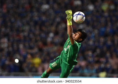 BANGKOK THAILAND NOV12 2015 :Chiu Yu Hung of Chinese Taipei  in action during the Fifa World Cup Group F qualifying Match between Thailand and Chinese Taipei at Rajamangala Stadium in Thailand.