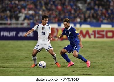 BANGKOK THAILAND NOV12 2015 :Hung Kai Chun of Chinese Taipei in action during the Fifa World Cup Group F qualifying Match between Thailand and Chinese Taipei at Rajamangala Stadium in Thailand.