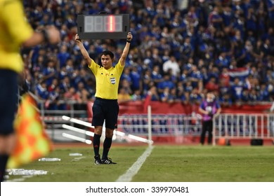 BANGKOK THAILAND NOV12 2015:Unidentified referee shows extra time during the Fifa World Cup Group F qualifying Match between Thailand and Chinese Taipei at Rajamangala Stadium in Thailand.