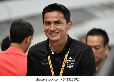 BANGKOK THAILAND NOV15: Kiatisuk Senamuang of Thailand in action during the 2018 FIFA World Cup Asian Qualifiers Match Thailand and Australia at Rajamangala Stadium on November 15,2016 in Thailand.