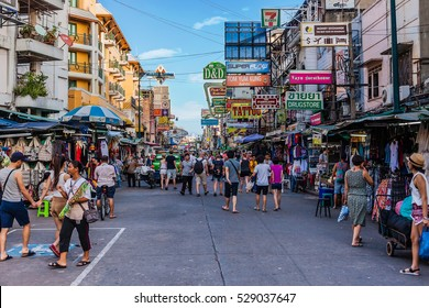 Bangkok, Thailand - November 01 2015: The Khaosan Road is 400 meters long and is the most famous street in Bangkok.