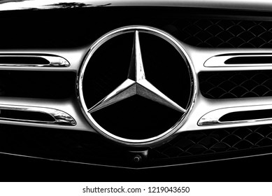 BANGKOK, THAILAND - November 01, 2018 : Mercedes Benz Sign Close Up Logo, Black And White Tone, Mercedes-Benz is a Global Automobile Marque And a Division of the German Company Daimler AG.