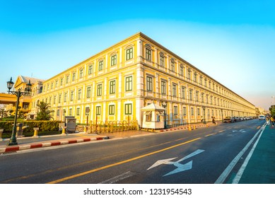 BANGKOK, THAILAND - November 04, 2018 : Street Views Beautiful Yellow Building Ministry of Defence Thailand With Sky Background, The Ministry Controls and Manages The Royal Thai Armed Forces