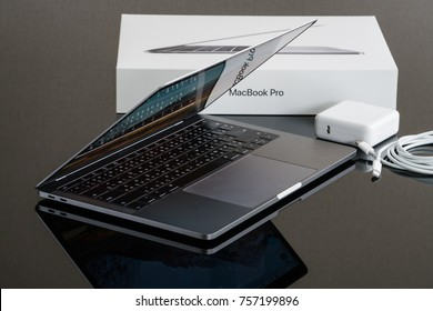 BANGKOK, THAILAND - November 05, 2017: Apple Inc. product design Space gray Macbook Pro with MacOS and accessories
