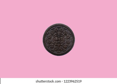 BANGKOK, Thailand - November 08, 2018: Oreo is a brand of cookie usually consisting of two chocolate cookies with a sweet creme filling as chocolate sandwich cookie