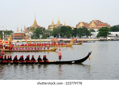 Bangkok, Thailand - November 1, 2012: Decorated barge parades past the Grand Palace at the Chao Phraya River during Fry the Kathina ceremony cloth of Royal Barge Procession in Bangkok, Thailand.