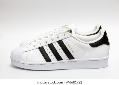BANGKOK, THAILAND - NOVEMBER 1, 2017 : Adidas superstar white/black shoes