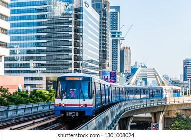 Bangkok, Thailand - November 1 2018: BTS train running through a business district in Bangkok,  Thailand.