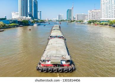 BANGKOK, THAILAND - NOVEMBER 1, 2018: View of Chao Phraya River in Bangkok, Thailand.