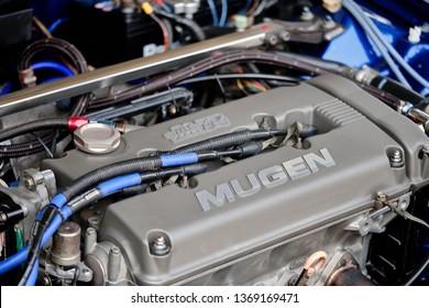 BANGKOK, THAILAND - NOVEMBER 1, 2018: Honda Civic EG engine. B16 inline four cylinder DOHC automotive engine with Mugen valve cover. High performance dual overhead camshafts with Honda's VTEC system.