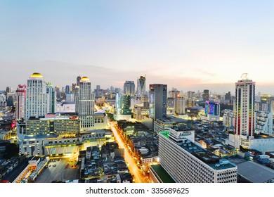 BANGKOK, THAILAND - November 1: Bangkok view, Above view from skyscraper in the city on November 1, 2015 in Bangkok Thailand