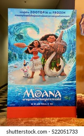 Bangkok, Thailand - November 10, 2016: Standee of the animation movie Moana at the theater