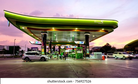 Bangkok, Thailand - November 10, 2017 : Night view at Bangchak gas station, Green S Revolution is new business model of Bangchak Corporate Public Company Limited.
