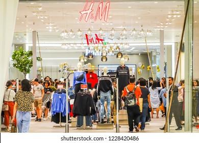 BANGKOK, THAILAND -  NOVEMBER 10, 2018: H&M store in Bangkok. H&M Hennes & Mauritz AB is a Swedish multinational retail-clothing company,