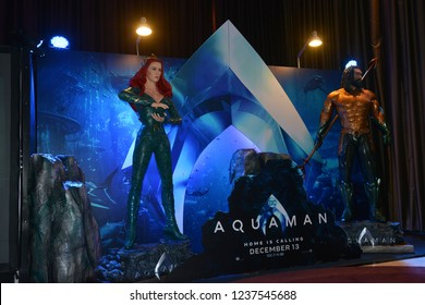 Bangkok, Thailand – November 10, 2018: Human Size Statue of A DC Comic Superhero Arthur Curry or Aquaman and Mera(Amber Heard) at The Standee of Movie Aquaman Displays at the Theater