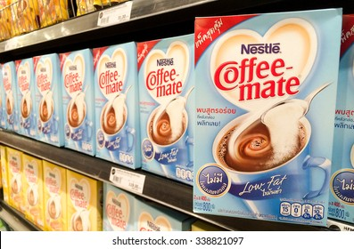 BANGKOK, Thailand - November 11, 2015: Nestle Coffee-mate Low Fat on shelf in supermarket. Coffee-Mate is a non-dairy creamer manufactured by Nestle. Mobile photography.