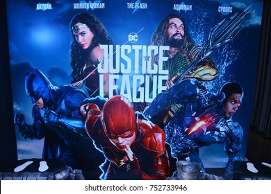 Bangkok, Thailand - November 11, 2017: Standee of Justice League display at the theater