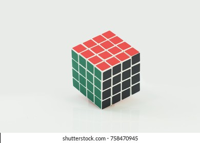 Bangkok, Thailand - November 11, 2017: Rubik's cube 4*4  good for brain on a white background. Rubik's Cube invented by a Hungarian architect Erno Rubik in 1974.