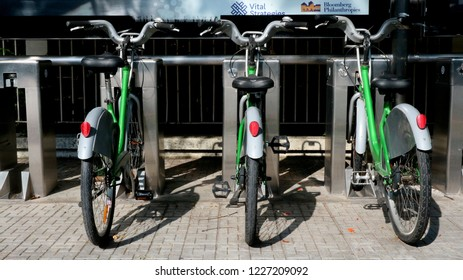 BANGKOK, THAILAND - NOVEMBER 11, 2018: Bicycle Sharing System Pun Pun available at designated stations on November 11, 2018 in Bangkok, Thailand.