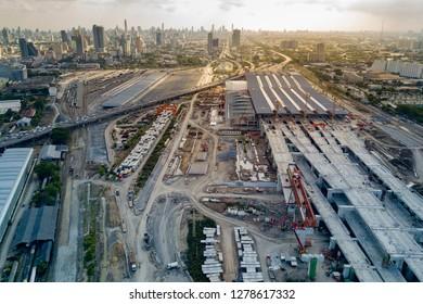 BANGKOK, THAILAND - NOVEMBER 11, 2018 : Aerial view of Bang Sue central station, the new railway hub transportation building under construction in Bangkok, Thailand.