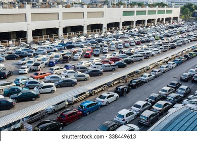 BANGKOK, THAILAND - November 12, 2015: parking lot and skyline next to Chatuchak Market on November 12,, 2015 in Bangkok. Busy morning of Bangkok BTS train parking lot.
