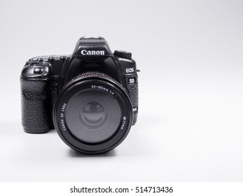 BANGKOK, THAILAND - November 12, 2016: Model of Canon 5D mark 2 professional DSLR camera on white background.