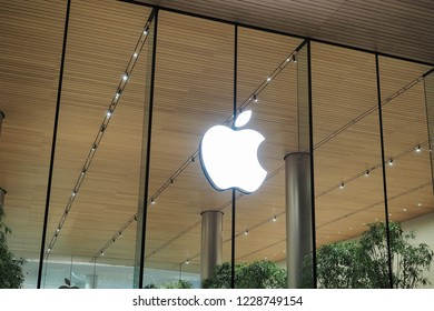 Bangkok, Thailand - November 12, 2018 : Thai branch Apple store of ICONSIAM new waterfront shopping mall located in Charoenakorn road in Khlongsarn district.