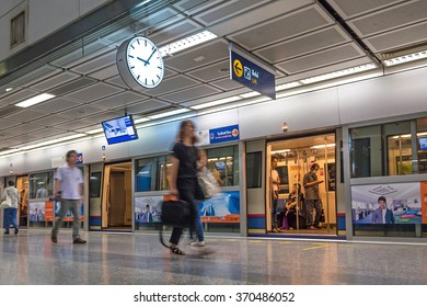BANGKOK, THAILAND - NOVEMBER 13, 2015: Unidentified travellers walking inside MRT underground station. The MRT serves 240,000 passengers daily with 20 km of city centre track.